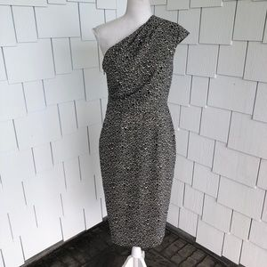 Adrianna Papell Patterned One Shoulder Dress Sz 6